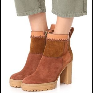 See by Chloe patchwork suede booties size 39 NEW